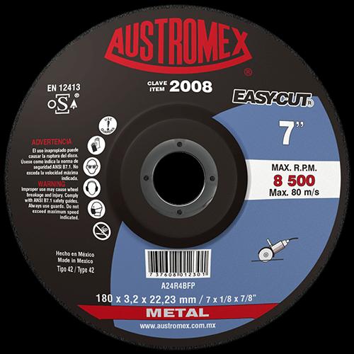 "Disco con centro deprimido para corte de metal de 7"" para esmeriladora angular"