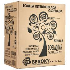 TOALLA INTERDOBLADA SANILUX DOBLADITAS 20 PAQUETES DE 100 PIEZAS